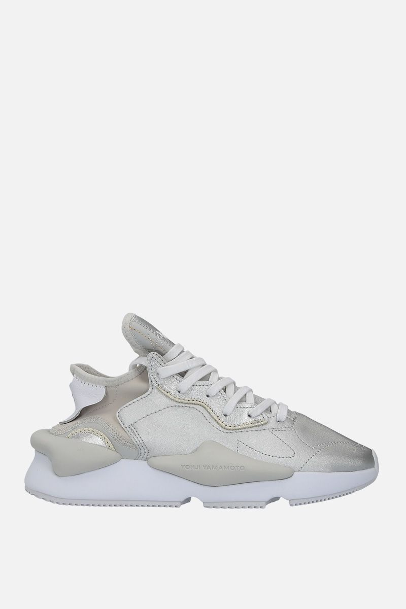 Y-3: Y-3 Kaiwa sneakers in faux leather and neoprene Color Silver_1