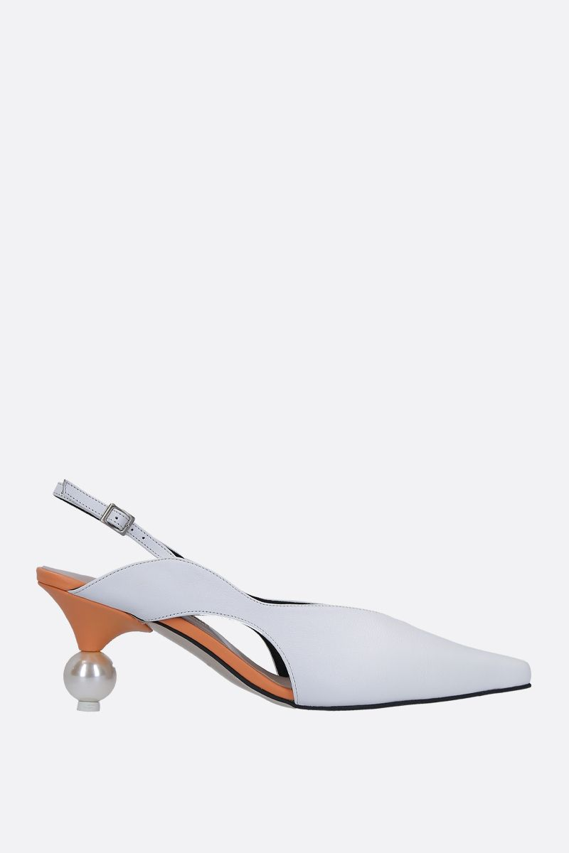 YUUL YIE: Doreen slingback in smooth leather Color White_1