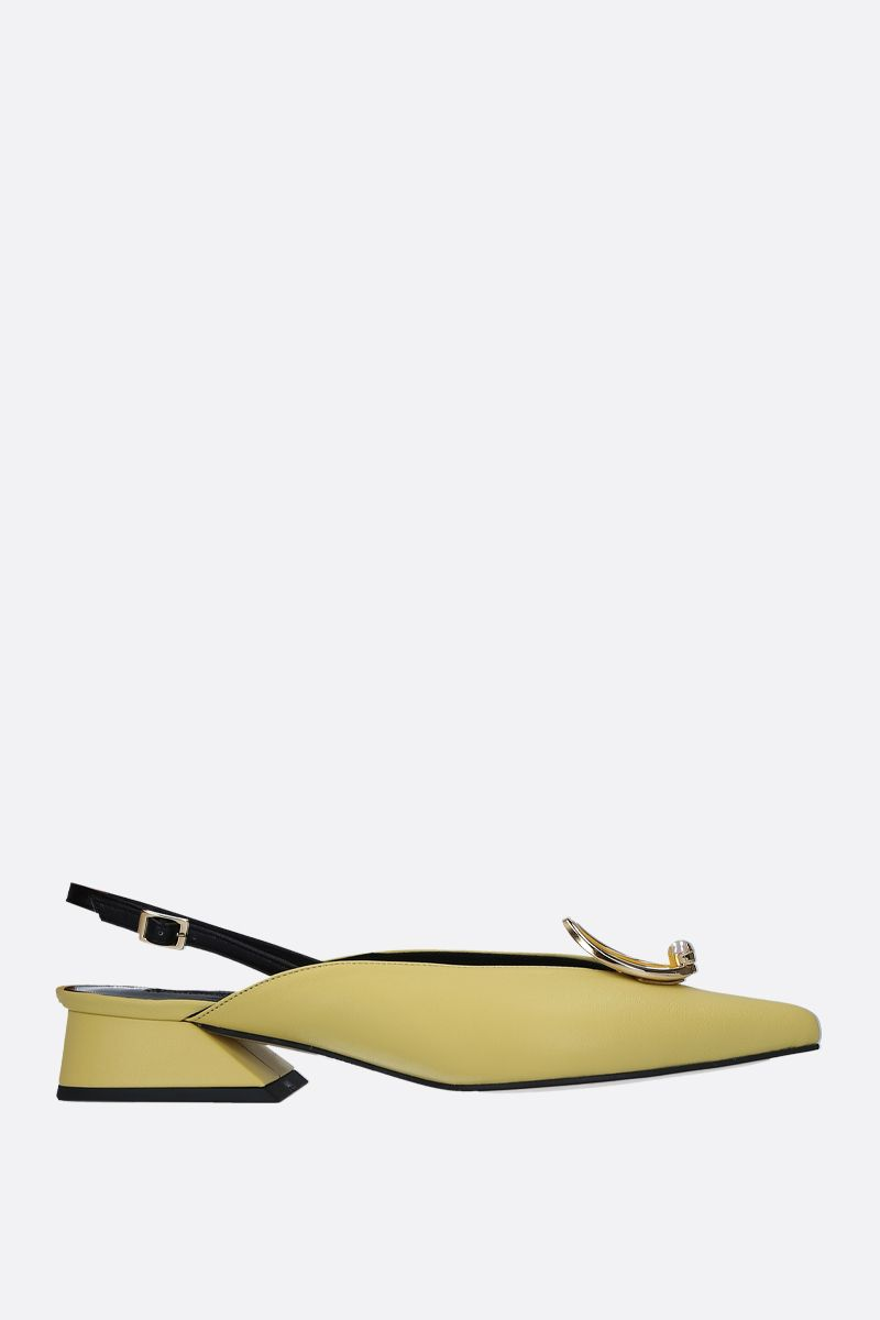 YUUL YIE: Zizi slingbacks in smooth leather Color Yellow_1