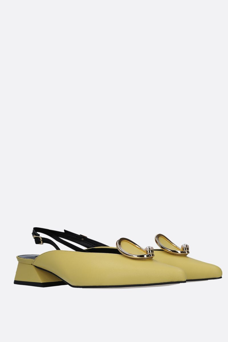 YUUL YIE: Zizi slingbacks in smooth leather Color Yellow_2