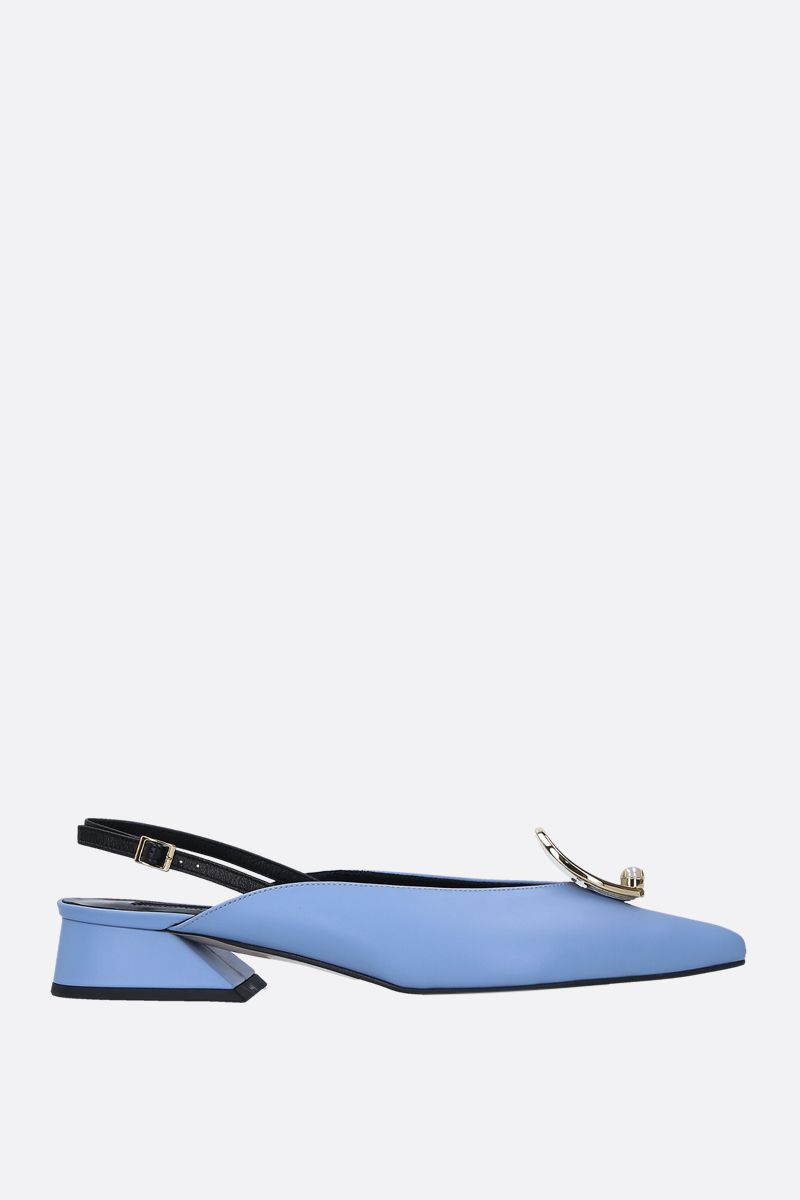 YUUL YIE: Zizi slingbacks in smooth leather Color Blue_1