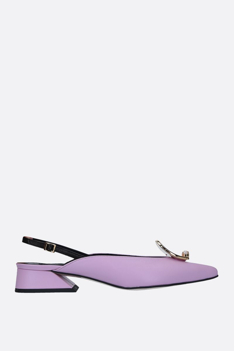 YUUL YIE: Zizi slingbacks in smooth leather Color Pink_1