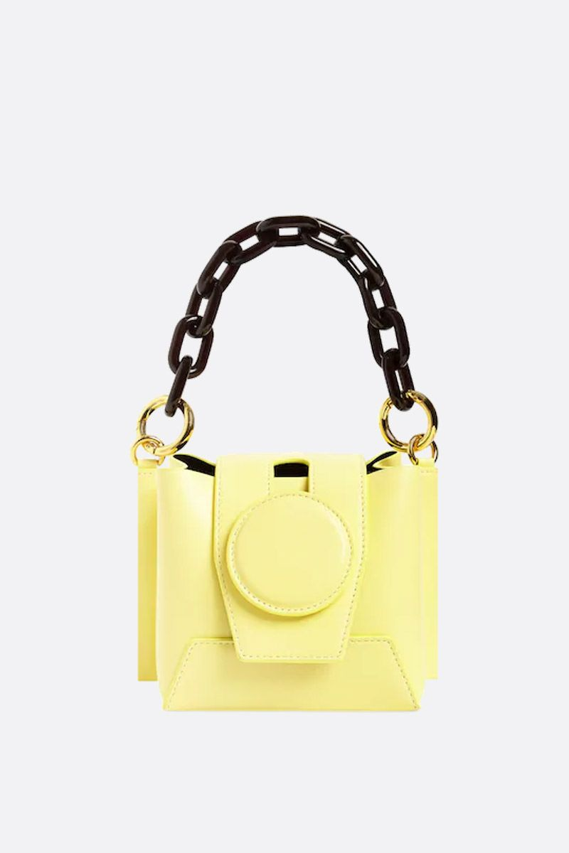 YUZEFI: Daria bucket bag in smooth leather Color Yellow_1