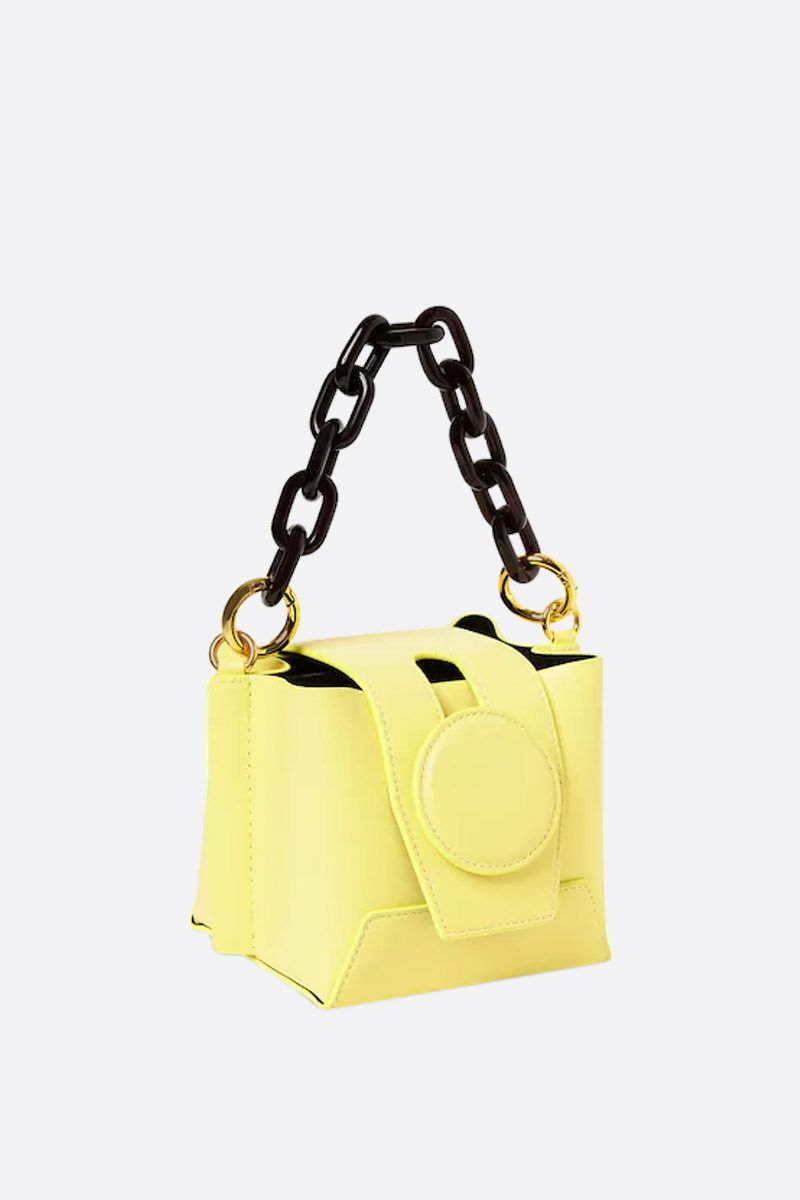 YUZEFI: Daria bucket bag in smooth leather Color Yellow_2