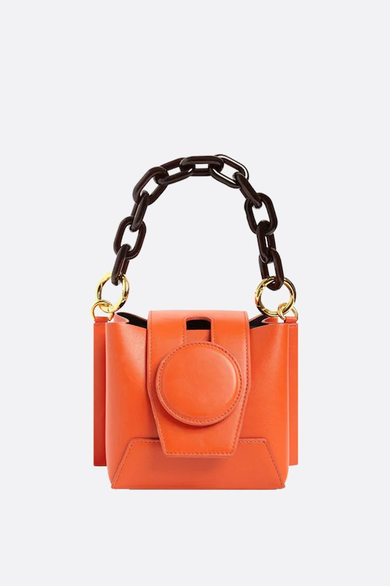YUZEFI: Daria bucket bag in smooth leather Color Orange_1