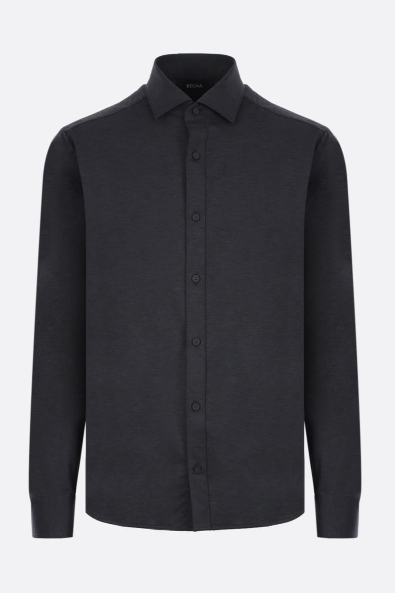 Z ZEGNA: technical fabric slim-fit shirt Color Grey_1