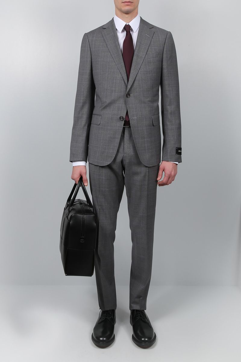 Z ZEGNA: two-pieces suit in prince of Wales wool Color Grey_2