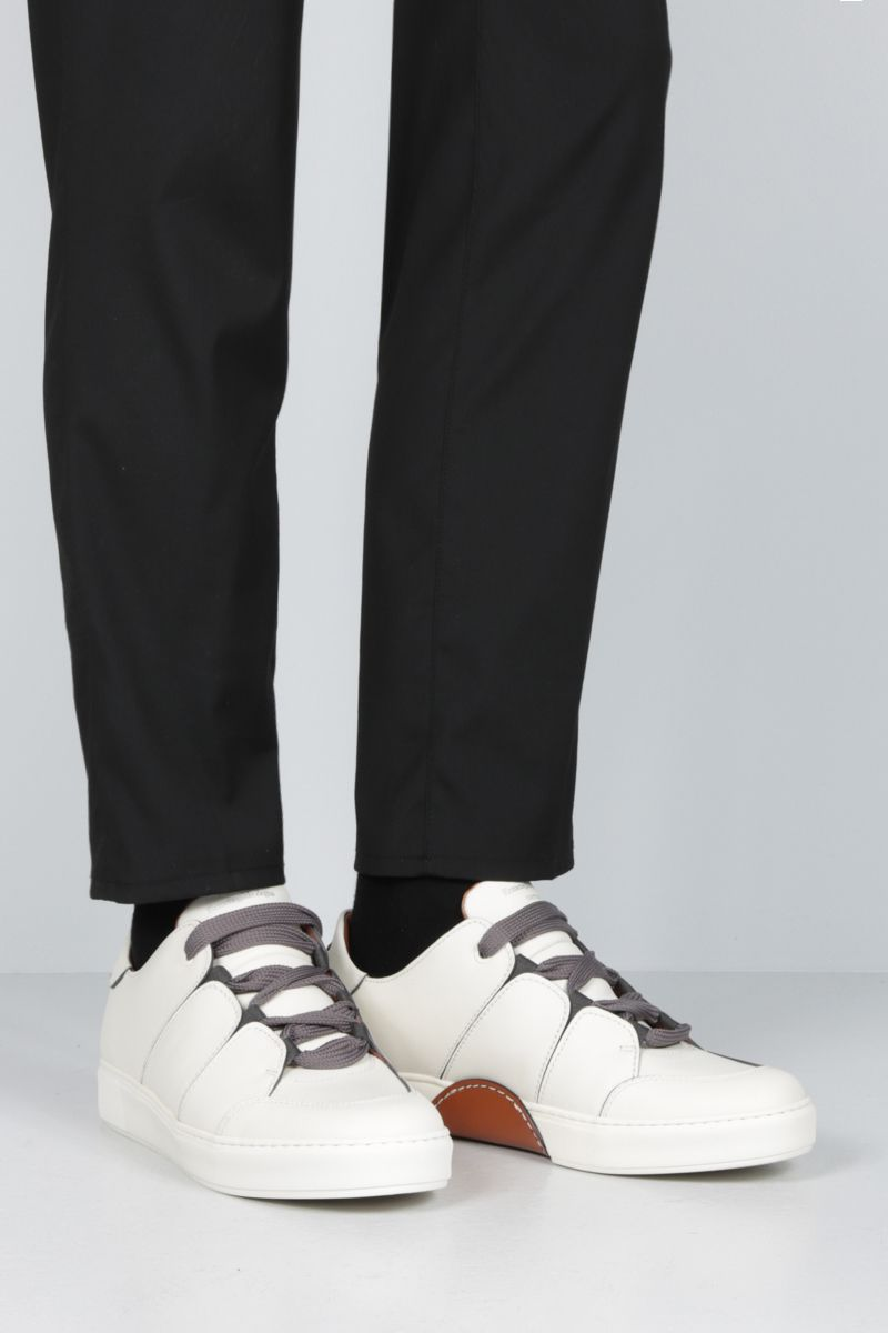 Z ZEGNA: Tiziano low-top sneakers in smooth leather Color Neutral_2
