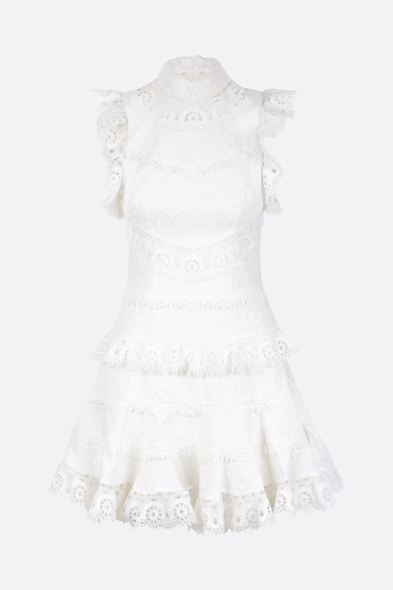 ZIMMERMANN: peggy embroidered trim short dress Color White_1