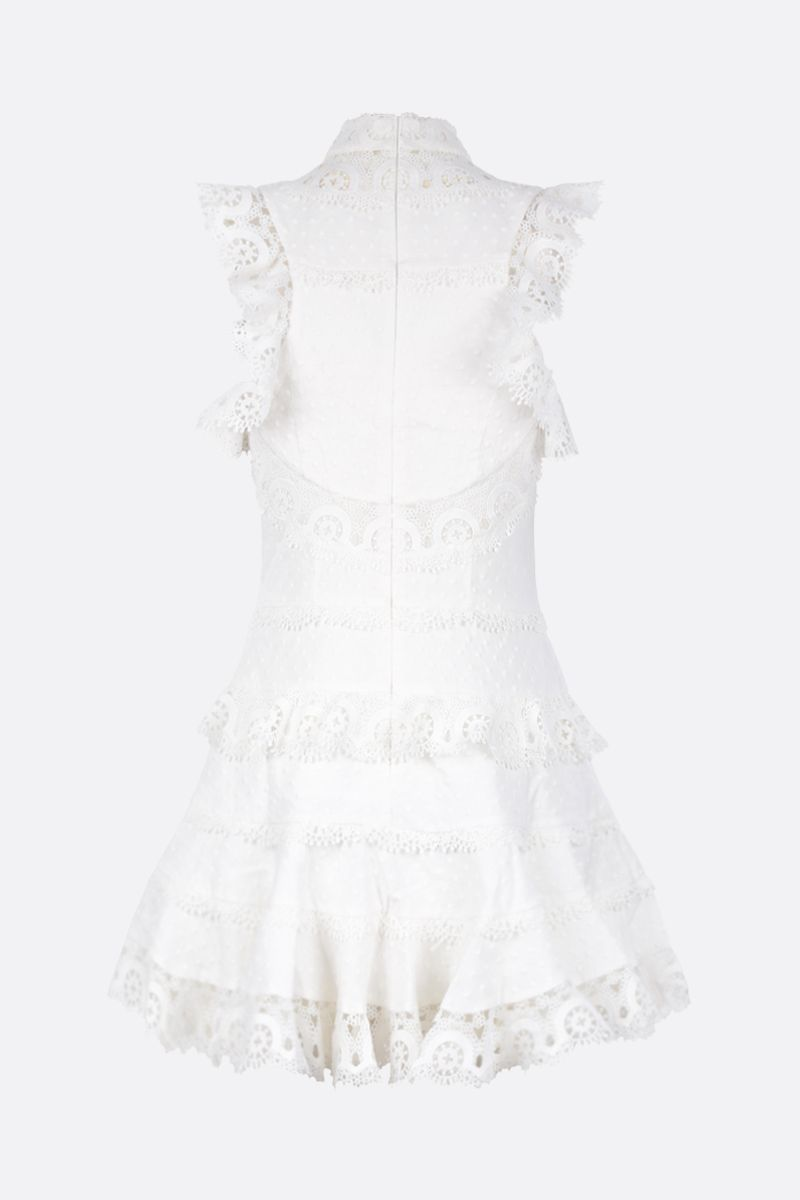 ZIMMERMANN: peggy embroidered trim short dress Color White_2