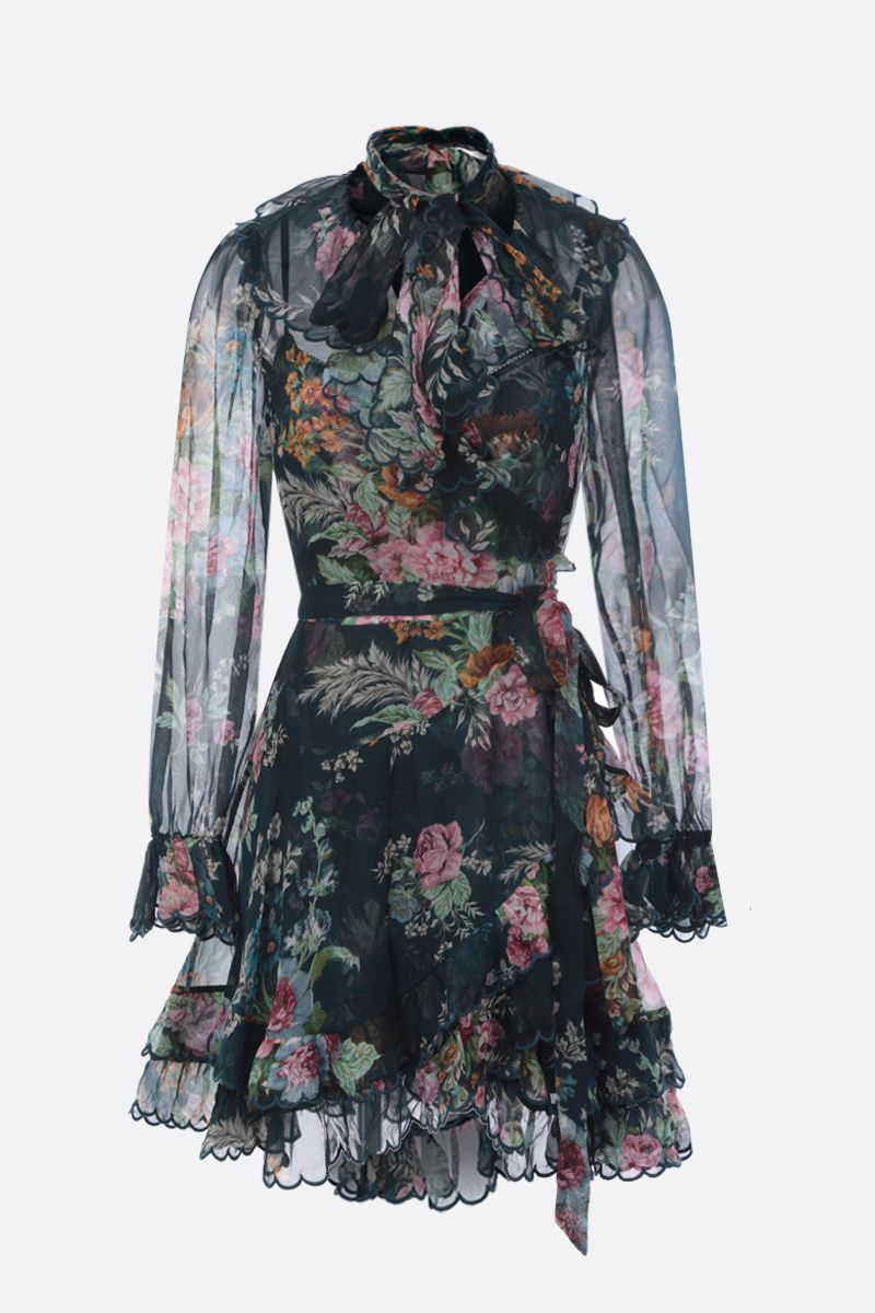ZIMMERMANN: Teal Daphne Floral printed silk minidress Color Green_1