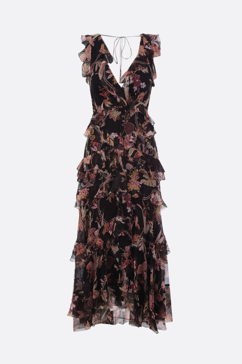 ZIMMERMANN: Phoenix printed silk midi dress Color Black_1