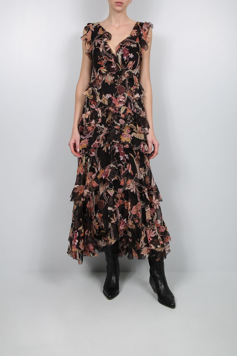 ZIMMERMANN: Phoenix printed silk midi dress Color Black_2