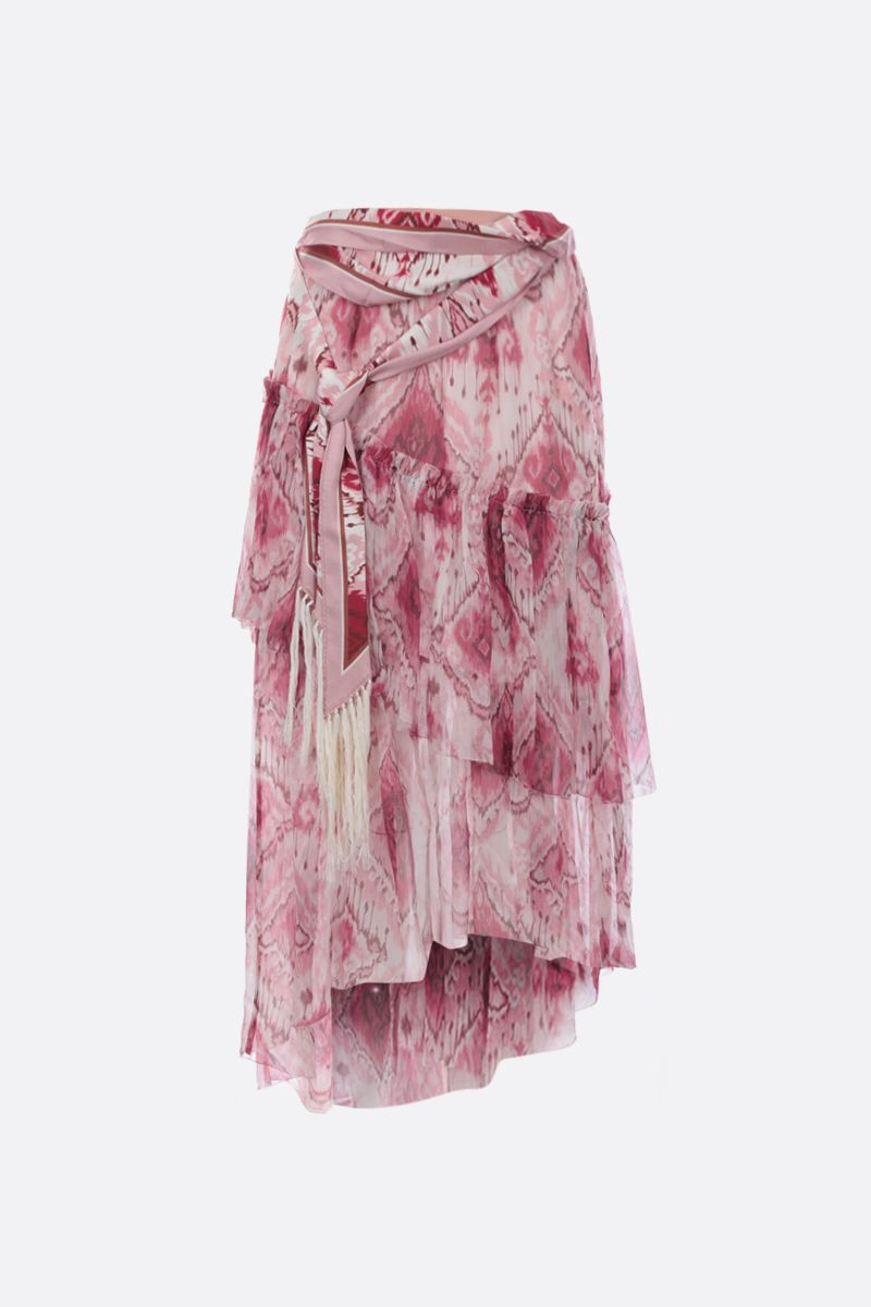ZIMMERMANN: Ikat printed silk flounced skirt Color Pink_1