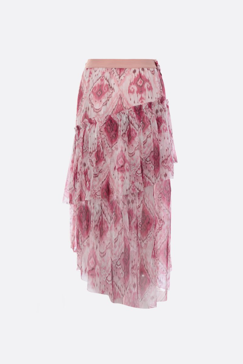 ZIMMERMANN: Ikat printed silk flounced skirt Color Pink_2
