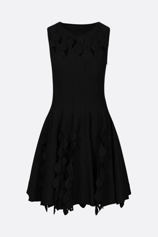 ALAIA: leaf-detailed knit sleeveless dress Color Black_1