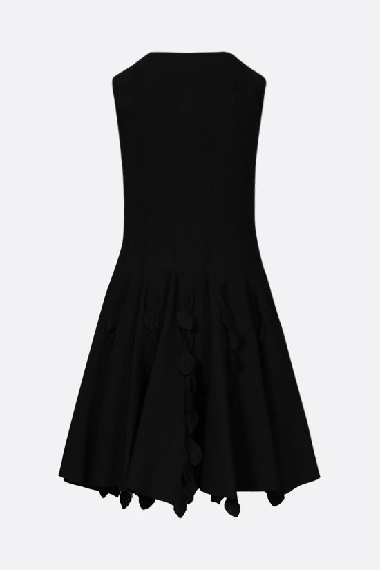 ALAIA: leaf-detailed knit sleeveless dress Color Black_2