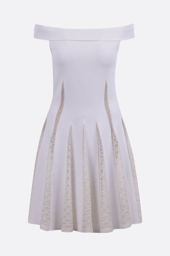 ALAIA: technical knit and lace off-the-shoulder dress Color White_1