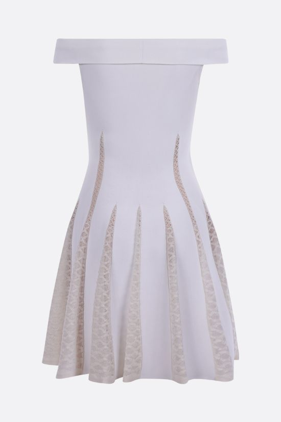 ALAIA: technical knit and lace off-the-shoulder dress Color White_2