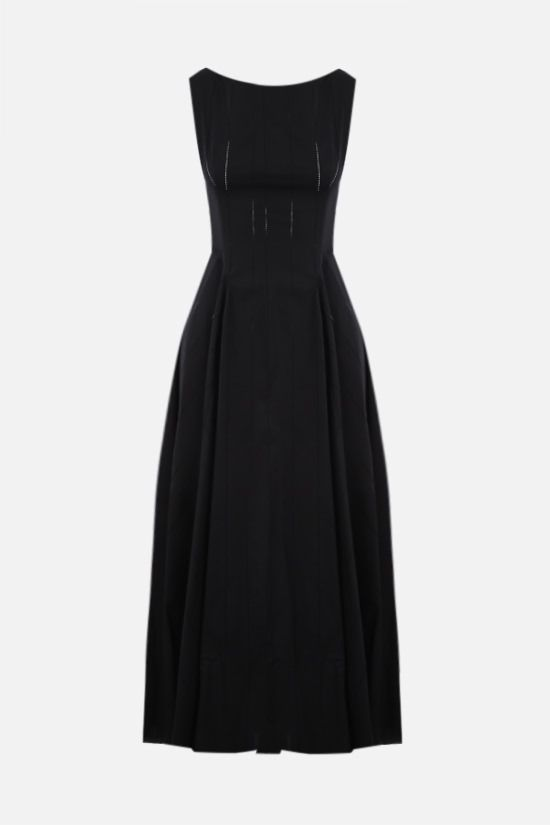 ALAIA: laser-cut poplin sleeveless dress Color Black_1