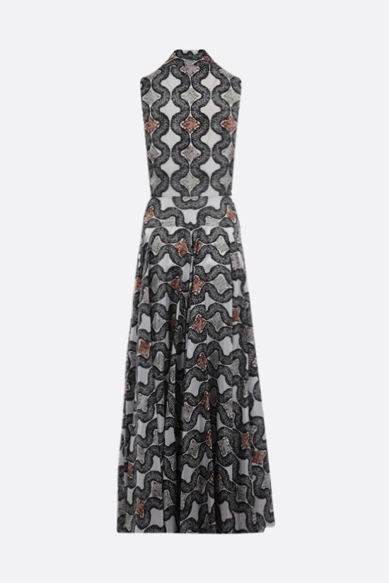 ALAIA: Python print silk sleeveless dress Color White_2