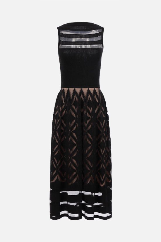 ALAIA: geometric-motif technical knit sleeveless dress Color Black_1