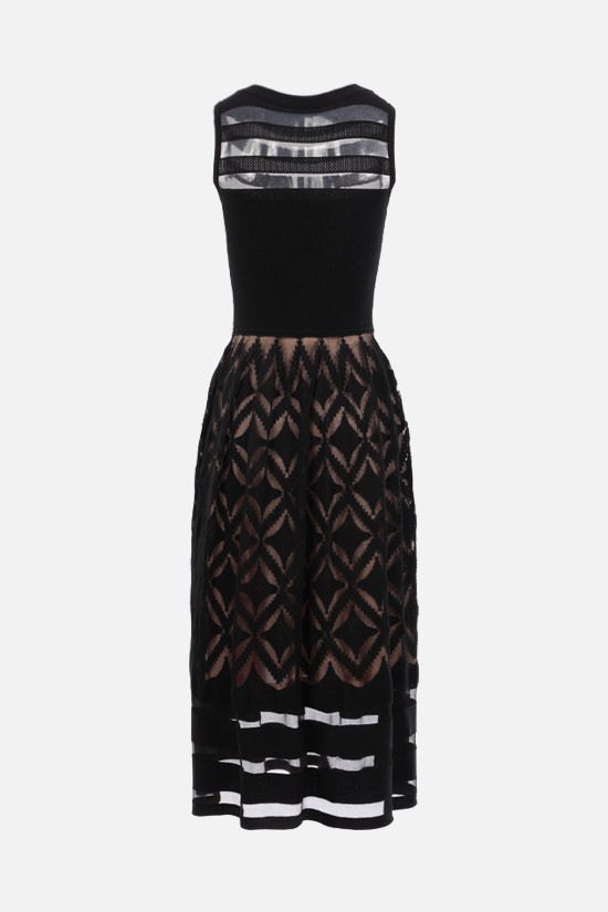 ALAIA: geometric-motif technical knit sleeveless dress Color Black_2
