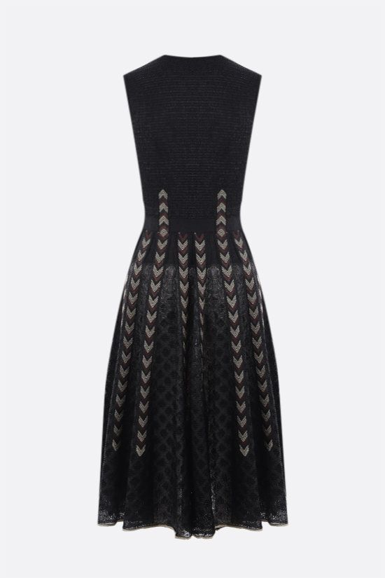 ALAIA: lace and raffia knit midi skirt Color Black_2