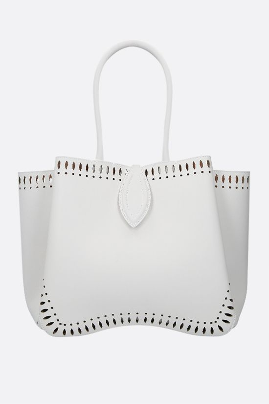 ALAIA: Angèle medium smooth leather shoulder bag Color White_1