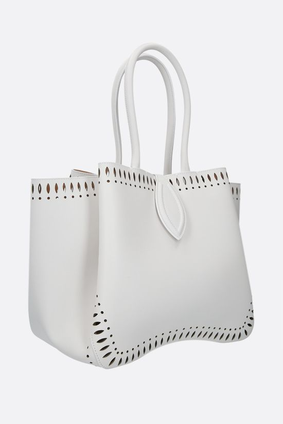 ALAIA: Angèle medium smooth leather shoulder bag Color White_2