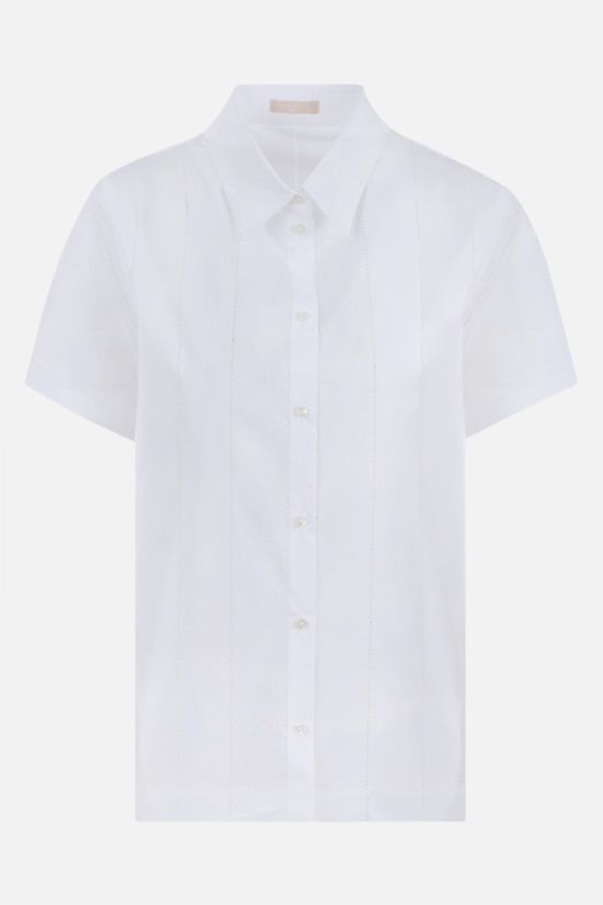 ALAIA: laser-cut poplin short-sleeved shirt Color White_1