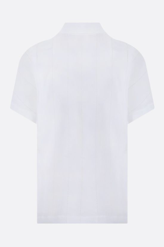 ALAIA: laser-cut poplin short-sleeved shirt Color White_2