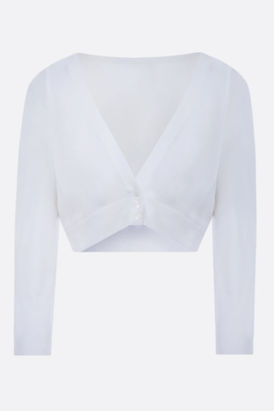 ALAIA: technical knit cropped cardigan Color White_1