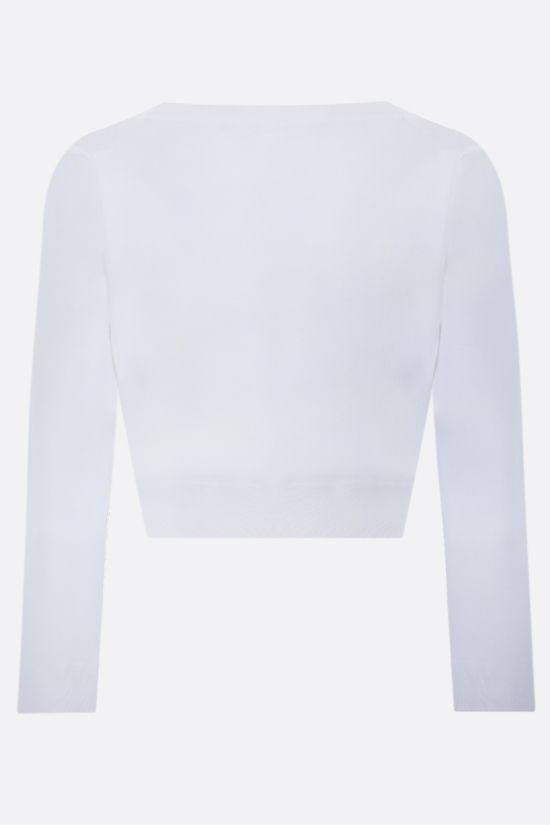 ALAIA: technical knit cropped cardigan Color White_2