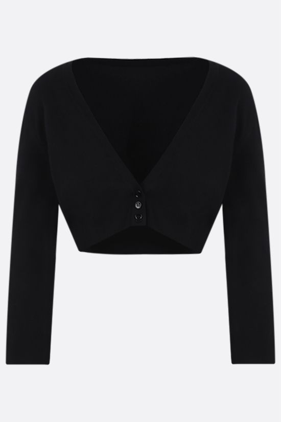 ALAIA: technical knit cropped cardigan Color Black_1