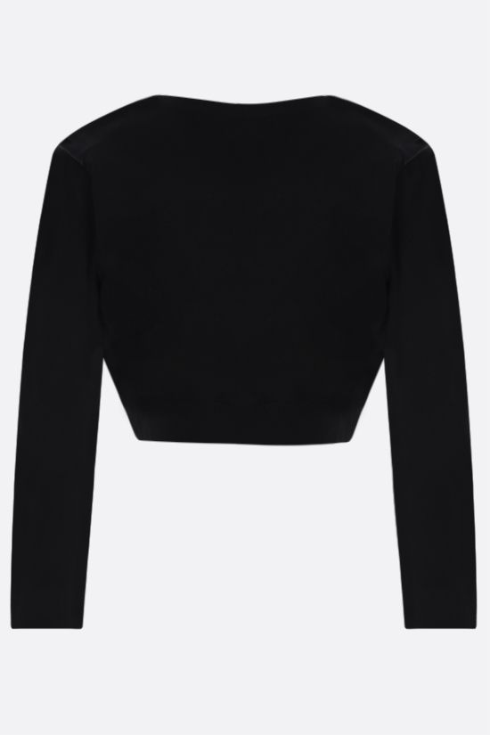 ALAIA: technical knit cropped cardigan Color Black_2