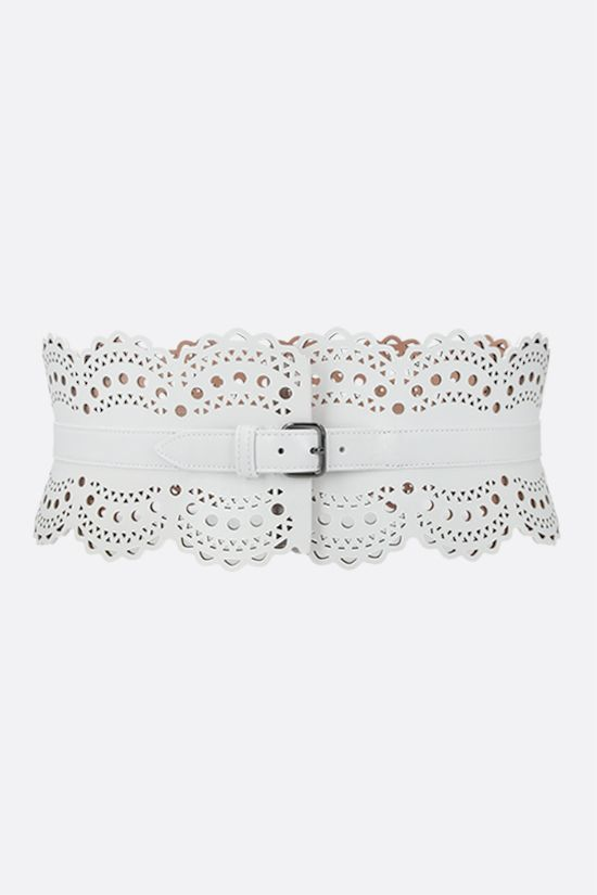 ALAIA: laser-cut leather waist belt Color White_1