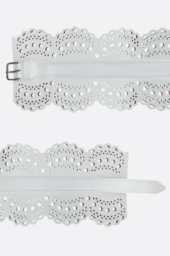 ALAIA: laser-cut leather waist belt Color White_2