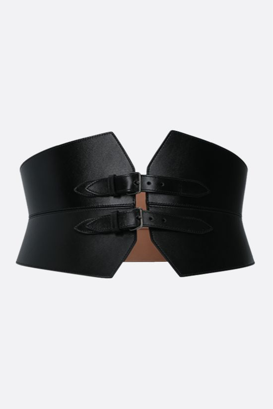 ALAIA: smooth leather waist belt Color Black_1