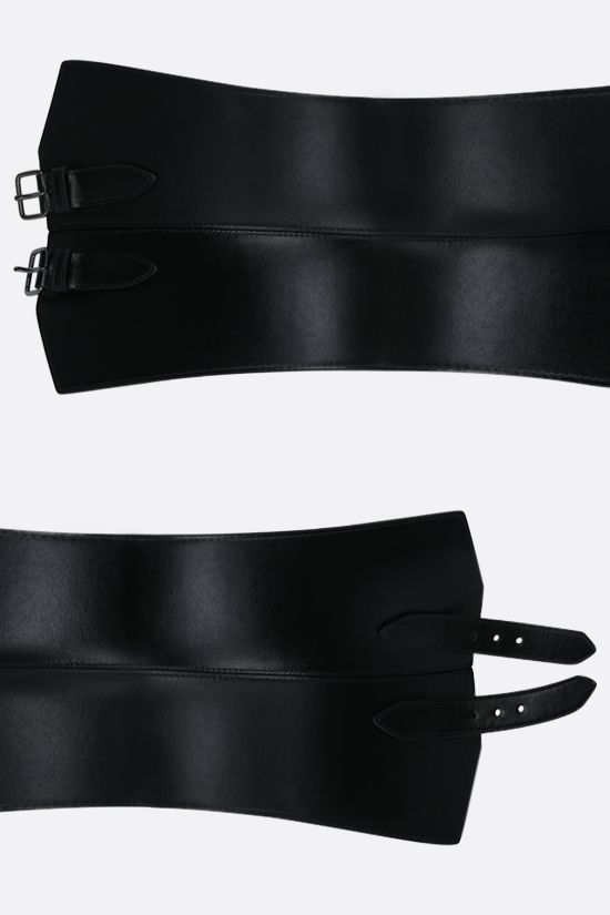ALAIA: smooth leather waist belt Color Black_2