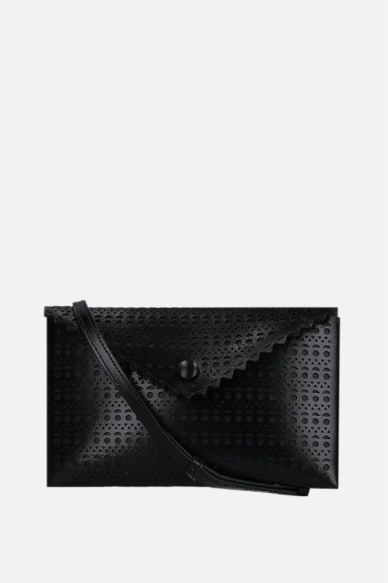 ALAIA: Louise 20 lasered leather clutch Color Black_1