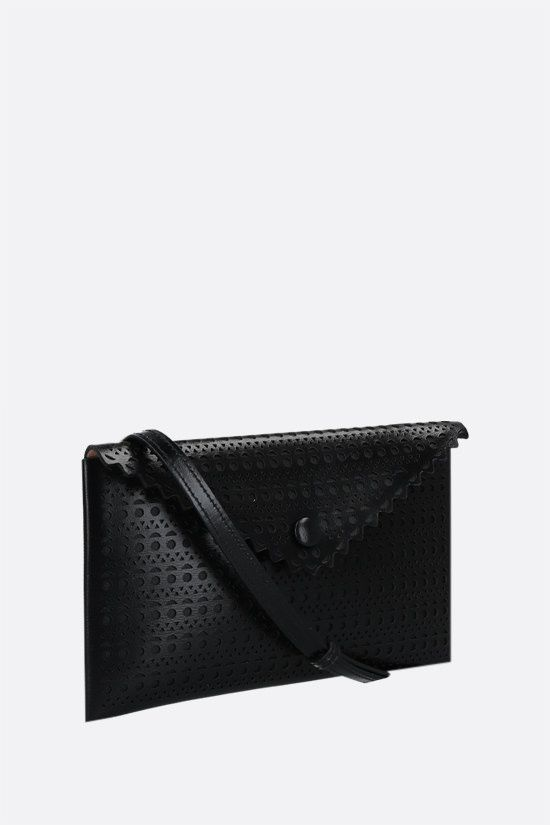 ALAIA: Louise 20 lasered leather clutch Color Black_2