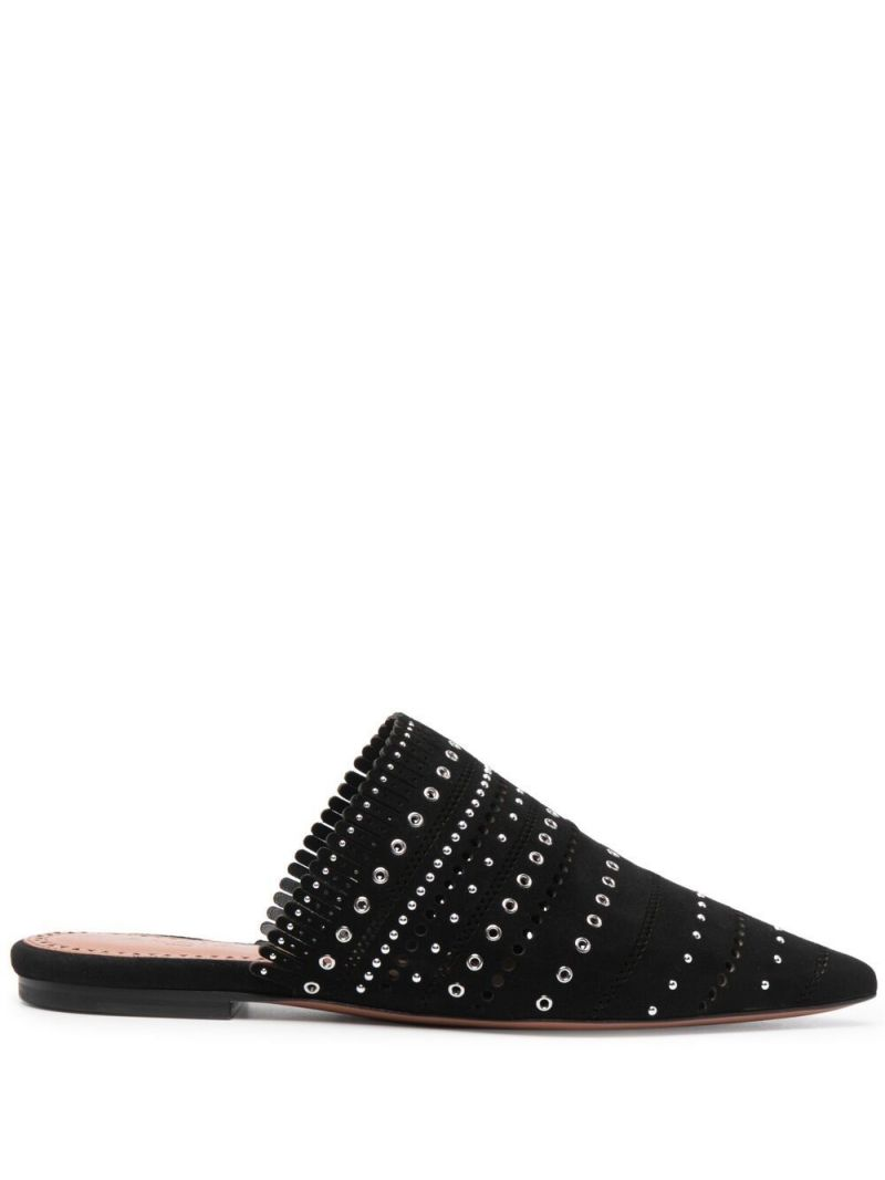 ALAIA: studded suede mules Color Black_1