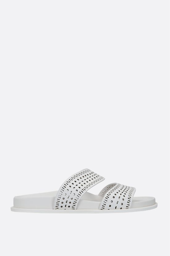 ALAIA: laser-cut leather slide sandals Color White_1