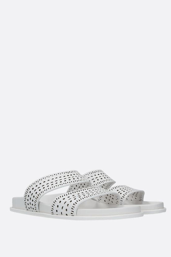 ALAIA: laser-cut leather slide sandals Color White_2