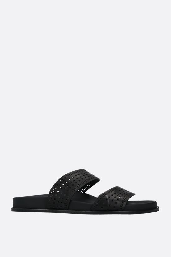 ALAIA: laser-cut leather slide sandals Color Black_1