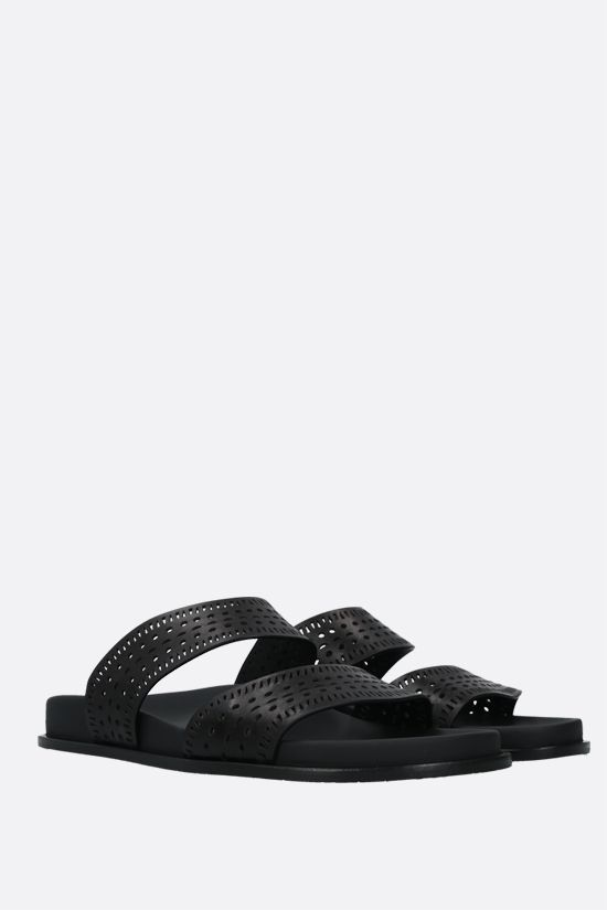 ALAIA: laser-cut leather slide sandals Color Black_2