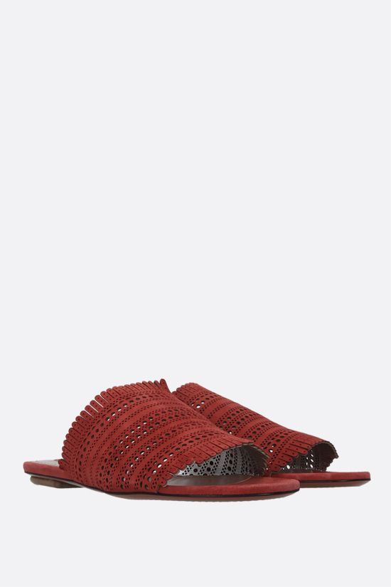 ALAIA: laser-cut suede flat sandals Color Multicolor_2