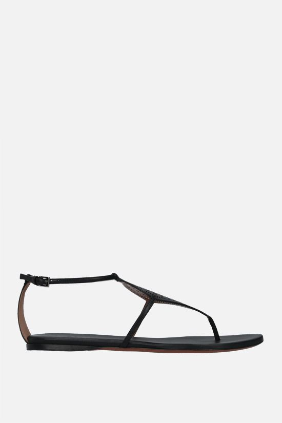 ALAIA: laser-cut leather thong sandals Color Black_1