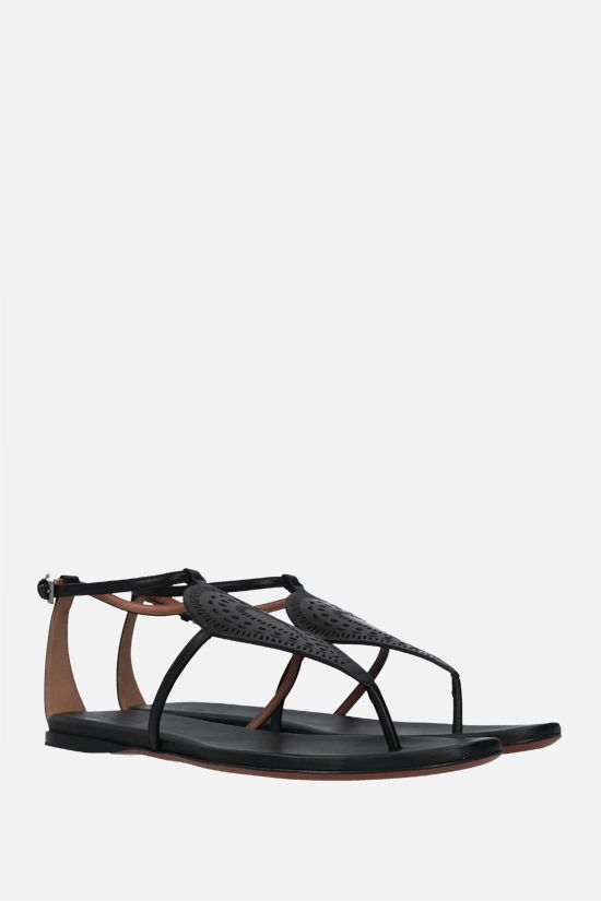 ALAIA: laser-cut leather thong sandals Color Black_2